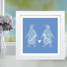 Penguins In Love Word Art - Unique Wedding or Anniversary Gift, Romantic Valentine's Day Keepsake
